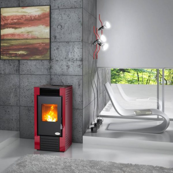 Karmek One – Stufa a pellet Lisbona ad aria ventilazione forzata in acciaio  – 8,21 Kw