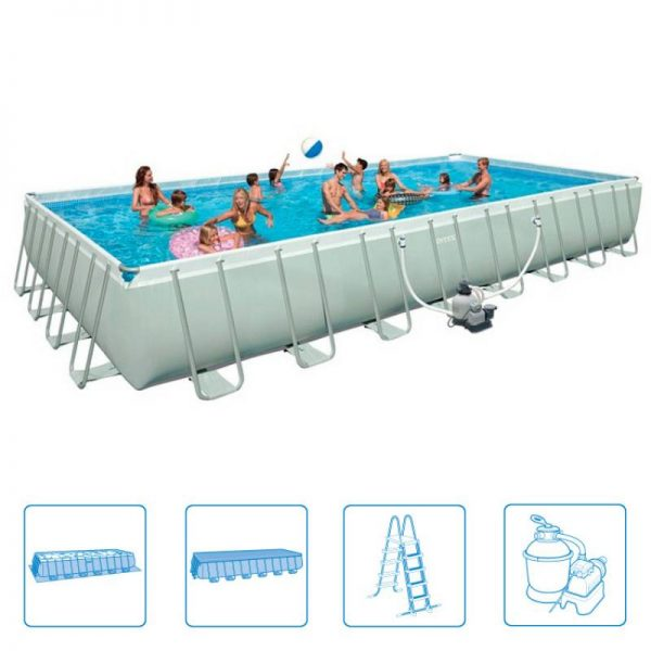 Intex piscina ultra frame rettangolare 975x488x132 cm for Intex accessori